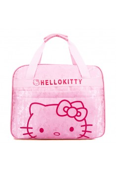 Isales Woman hello kitty handbag short-sleeved travel bag cartoon bag long-distance student bag tuition bag laptop bag mummy bag