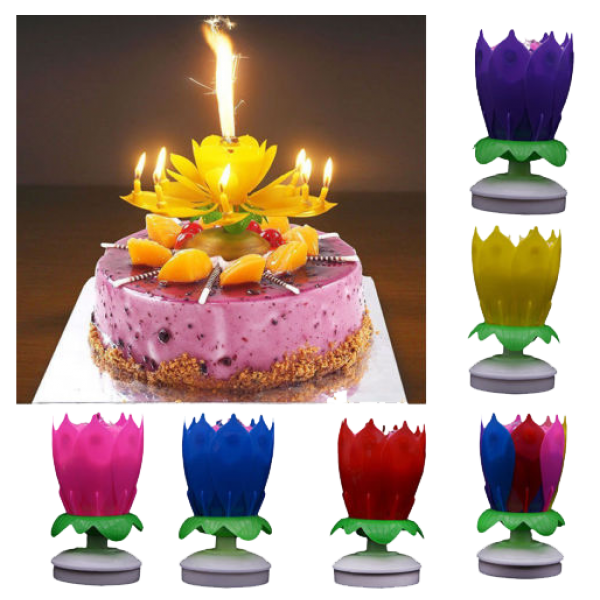 Isales Musical Rotating Round Lotus Music Flower Birthday Candle