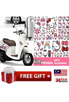 Ready Stock ISales 58pcs/Set Hello Kitty Sticker Bedroom Car Mobile Laptop Motobike Bowknot