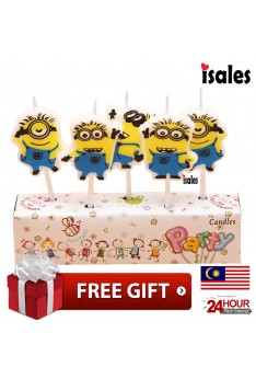 Ready Stock ISALES Cute Minion Candle Topper Happy Birthday Party