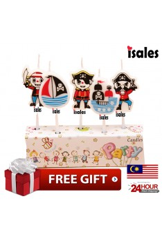 Ready Stock ISALES Cute Pirate Candle Topper Happy Birthday Party