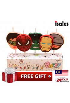 Ready Stock ISALES Cute Super Hero Candle Topper Happy Birthday Party