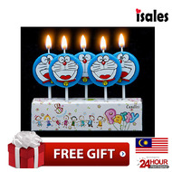Ready Stock ISALES Cute Doraemon Theme Candle Topper Happy Birthday Party