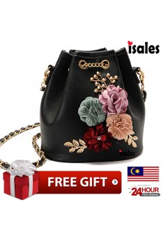 Ready stock Isales woman Bucket floral Flower 3D handbag sling bag bag tangan