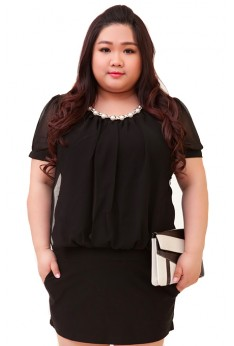 Design by Taiwan Plus Size Dress Office Wear (SIZE UP TO 4XL, 135CM BUST)