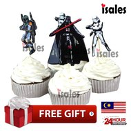 ISALES 24pcs Star wars theme cartoon character cake topper happy birthday cupcake topper