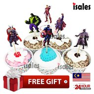 ISALES 24pcs Super Hero theme cartoon character cake topper happy birthday cupcake topper