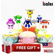 ISALES 24pcs Super Wing theme cartoon character cake topper happy birthday cupcake topper