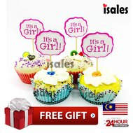 ISALES 24pcs It's A Girl theme cartoon character cake topper happy birthday cupcake topper