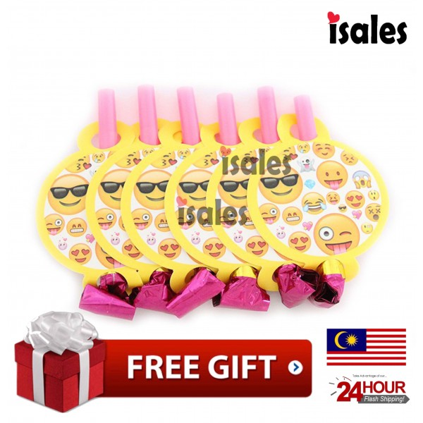 ISALES Emoji Theme Party Blower Blowouts Whistle Happy Birthday