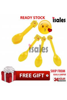 ISALES Emoji Theme Disposable Spoon Happy Birthday Party Decoration Supplies