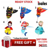 Ready Stock ISALES Superhero Princess lollipop card Party decoration Door Gift Birthday Event