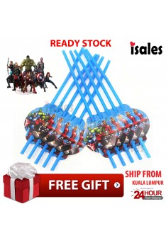 ISALES Avenger Theme Drinking Straw Kids Party Decoration Event Birthday