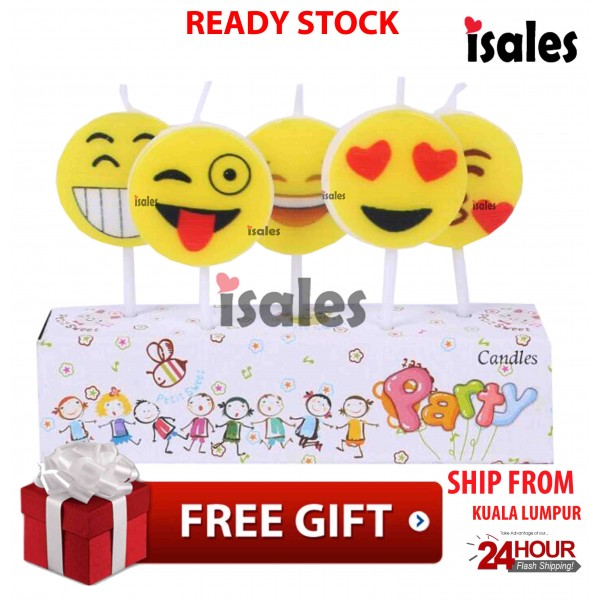 Ready Stock ISALES Emoji Theme Cake Topper Birthday Candle