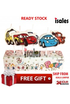 Ready Stock ISALES Cars Theme Cake Topper Birthday Candle