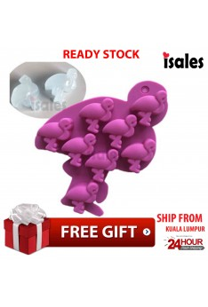 Ready Stock ISALES Cute Flamingos Design Chocolate Jelly Cake Silicone Mold Mould