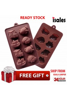 Ready Stock ISALES Car Ship Train Plane Silicone Mould Mold Chocolate Soap Jelly Mould Mold