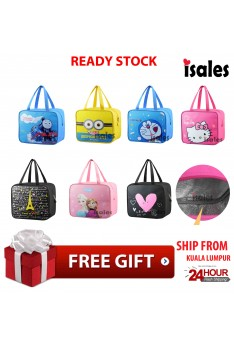 Ready Stock Isales Cartoon Lunch Bag Insulated Cooler Thermal Picnic Woman Kids Lunch Bags