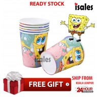 ISALES  6pcs Spongebob Theme Party Disposable Drinking Paper Cup Happy Birthday Party
