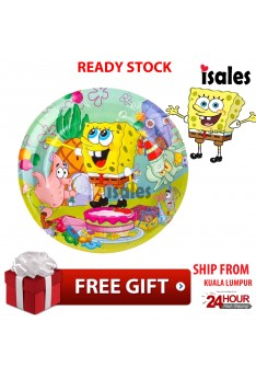 ISALES Party Decoration 6pcs Spongebob Theme Disposable Paper Plate Happy Birthday Party
