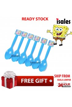 ISALES 6pcs Spoon Spongebob Theme Disposable Birthday Party Decoration Supplies