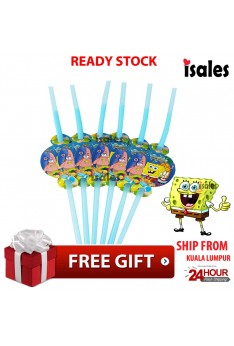 ISALES 6pcs Spongebob Theme Drinking Straw Kids Party Decoration Event Birthday