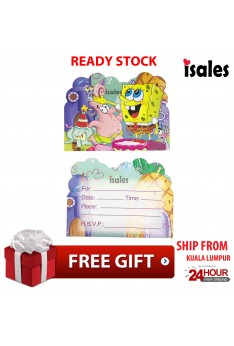 ISALES Birthday Spongebob Card Invitation Card Kids Party