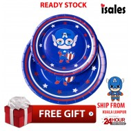 ISALES Party Decoration 6pcs Captain American Theme Disposable Paper Plate Happy Birthday Party
