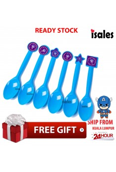 ISALES 6pcs Spoon Captain American Theme Disposable Birthday Party Decoration Supplies