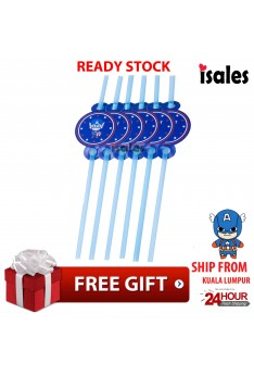 ISALES 6pcs Captain American Drinking Straw Kids Party Decoration Event Birthday