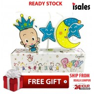 Ready Stock ISALES Baby Boy baby Shower Candle Topper Happy Birthday Party