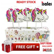 Ready Stock ISALES Unicorn Shower Candle Topper Happy Birthday Party Girl Theme