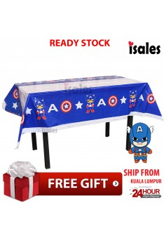 Ready Stock ISALES 1pcs Captain American Theme Tablecloth Table Cover Kids Party Event Decorations