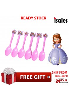 ISALES 6pcs Spoon Sofia Theme Disposable Birthday Party Decoration Supplies