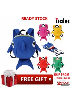 Ready Stock Anti Lost ISALES Shark Backpacks With Anti-lost rope Cute Bags