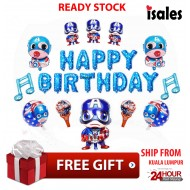 ISALES Party Decoration Happy Birthday Captain American Set Theme Foil balloon Boy Theme