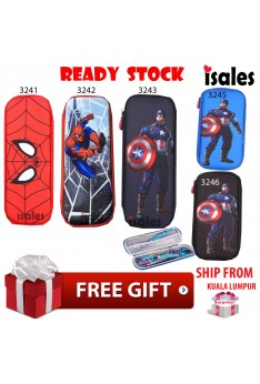 Ready Stock Isales Pencil Case Stationary captain american spider man