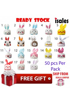 READY STOCK 50pcs Rabbit Goodies Bag Doorgift, Cookies Packaging Party Door Gift