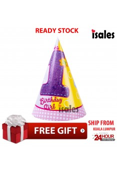 ISALES 1st Birthday Girl Party 6pcs Paper Cap Hat Kids Birthday Baby Shower Decoration