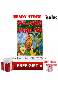 ISALES 1pc Jungle Party Theme Tablecloth Table Cover Kids Party Event Decorations