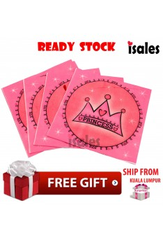 Party Decoration 10pcs Disposable Napkins Tissue ISALES Princess Crown Theme Birthday Party