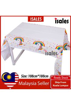 ISALES 1pc Rainbow Unicorn Theme Tablecloth Table Cover Kids Party Baby shower Decorations