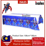 ISALES Superman Theme Tablecloth Blue Table Cover Kids Party Event Decorations