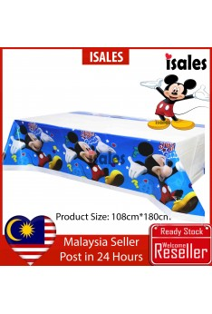 ISALES Blue Mickey Tablecloth Table Cover Kids Party Decorations Baby shower