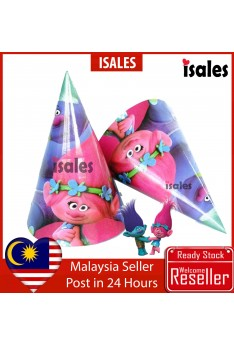 ISALES 6pcs Trolls Theme Kids Party Hat Birthday Baby Shower Party Event Celebration