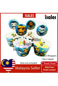 24pcs Octonauts Cake Topper Wrappers Kid Birthday Party Decoration Baby Shower Supplies