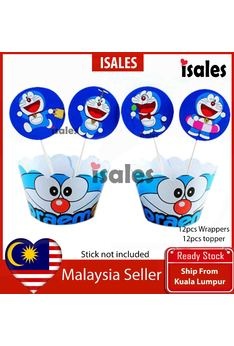 24pcs Doraemon Cake Topper Wrappers Kid Birthday Party Decoration Baby Shower Supplies