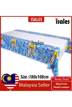 ISALES Birthday Tablecloth Table Cover Kid Party Decorations Baby shower