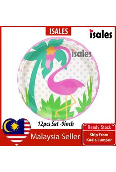 Party Decoration 12pcs Flamingo 9inch Paper Plate Birthday