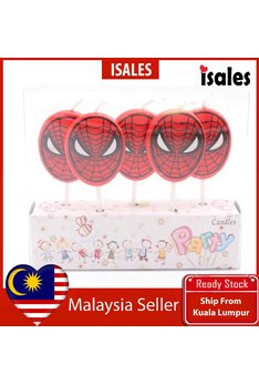 Ready Stock ISALES 5pcs set Spiderman Theme Cake Topper Birthday Candle